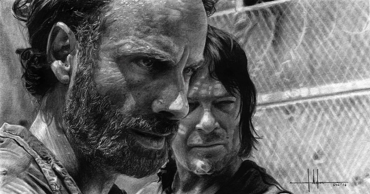 Rick  Daryl Portrait by SubliminAlex