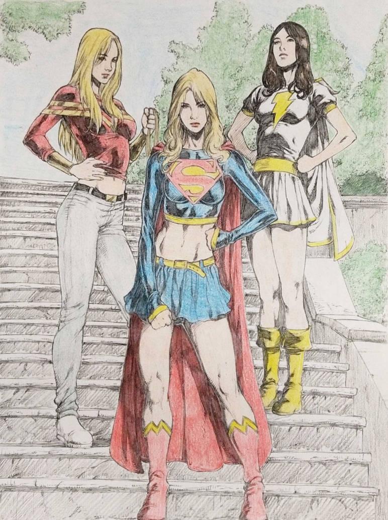 Supergirl-Wonder Girl-Mary Marvel by Schadwen