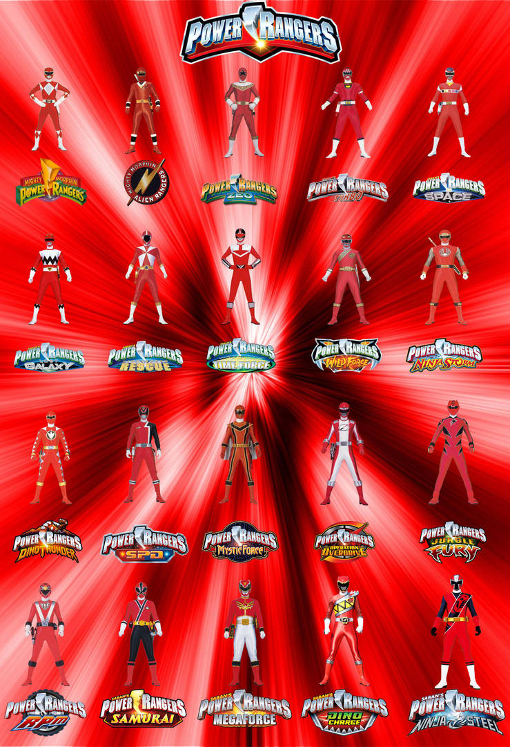 Power Rangers - Red Rangers - MM To NS by MitchThe1Soul