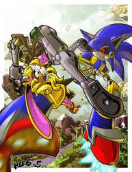 Bunnie Rabbot vs Mecha Sonic by herms85