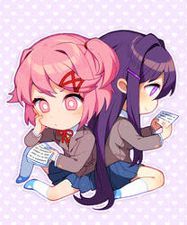 Valentines Natsuki and Yuri Chibis by Satchely