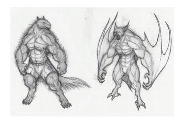Vampire and werewolf by krigg