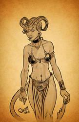 Tiefling Slave Girl Inks by NinjaMonkeyBoyX