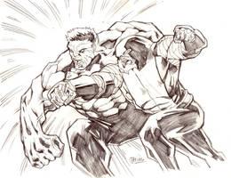 AvX: Red Hulk vs. Colossus/Juggernaut by guinnessyde
