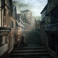 Rue d'Auseil - The Music of Erich Zann - Lovecraft by mcrassusart