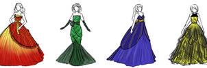 Hogwarts Houses Dresses by sirenlovesyou