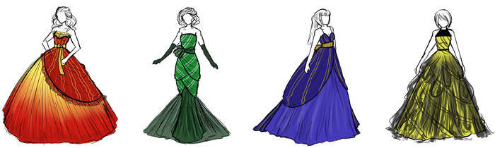 Hogwarts Houses Dresses by sirenlovesyou