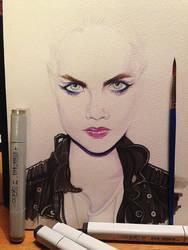 Cara Delevingne watercolors by iliasPatlis