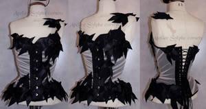 Black ribbon bows corset versus drapery by AtelierSylpheCorsets