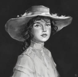 Portrait of girl in a hat by MILMARI