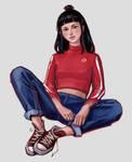 Sketch of girl by MILMARI