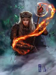 Commission: Nithfaris - Thiefling Druid by DavidSondered