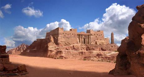 Desert Outpost by SamDenmarkArt