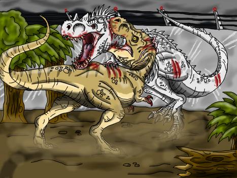 Jurassic World: T-rex vs I-rex by Alien-Psychopath