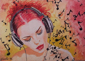 Music speaks - watercolor by Giselle-M