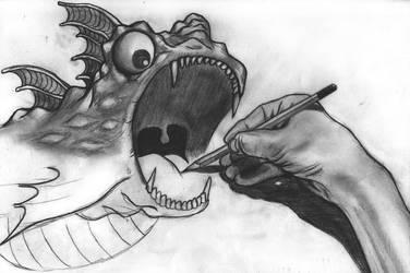 Dragon drawing by maxvanijsselmuiden