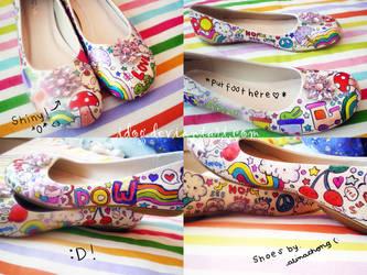 Super Rainbow Ballet Flats by idog