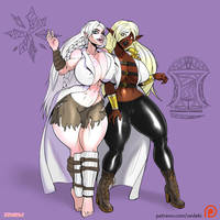 Commission - Alpheara and Rallina cloth by zedeki-arts