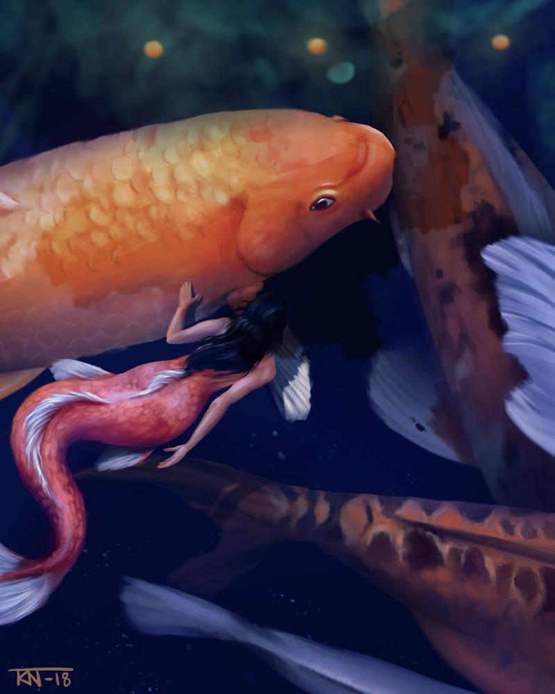 Koi fish mermaid by trinemusen1