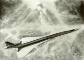 Concorde graphite drawing by manany