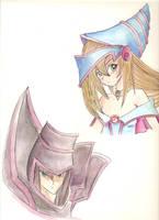 Dark Magican and Dark Magican Girl - Watercolor by chbi-otaku