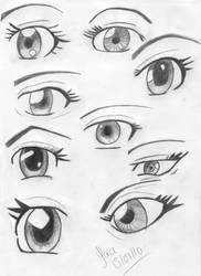Female Anime Eye Practice by Saralil