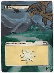 MTG handpaint - Plains ~ Dragon Glow-in-the-dark by mabugirl