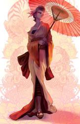 Orange Geisha by BonsaiMechaGirl