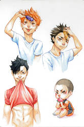 Haikyuu - Watercolor by psycho-kitty