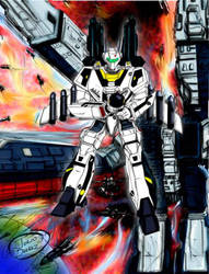 VF-1S Super Battroid Fastpack attack by Oylux