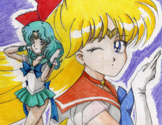 Sailor Venus and Neptune by mika-moon