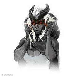 Tiefling sketch by OlgaDrebas