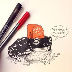 Inktober Day 11 - Pewdiepie's Pet Toad Slippy by Serina67