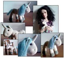 Crocheted Unicorn by MightyStarGazer
