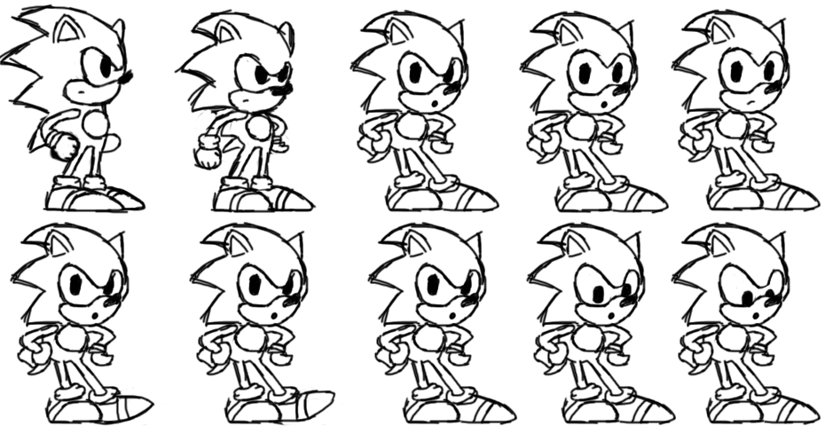 sonic the hedgehog hd sonic hd sprite wait sketch by nuryrush on