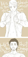 Tony/Steve: His shirt is... by mixed-blessing