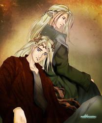 Thranduil and Legolas by Neldorwen