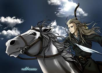 Legolas riding to battle by Neldorwen