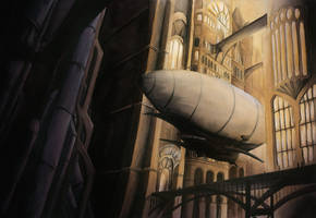Watercolor Steampunk City by TheDoubleDwarf