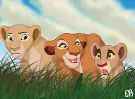 Lionesses Chasing by EfiWild