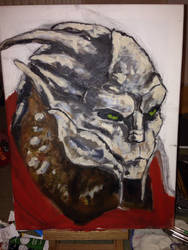 Turian Acrylic/Watercolour WIP by mad-dragon249