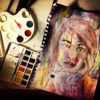 watercolour female face drip by symons-photography
