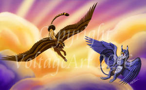 Griffins at Sunset by Voltage-Art