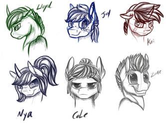Ninjago Ponies sketches (movie versions) by Voltage-Art