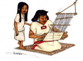 Weaving with mother by Mytforskare