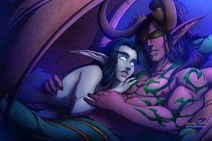 Shanarra and Illidan by artofcarmen