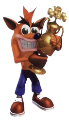 CTR: Crash Team Racing - Crash Trophy Small by PaperBandicoot