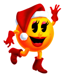 Ms. Pac-Man - 2D Artwork - Christmas by PaperBandicoot
