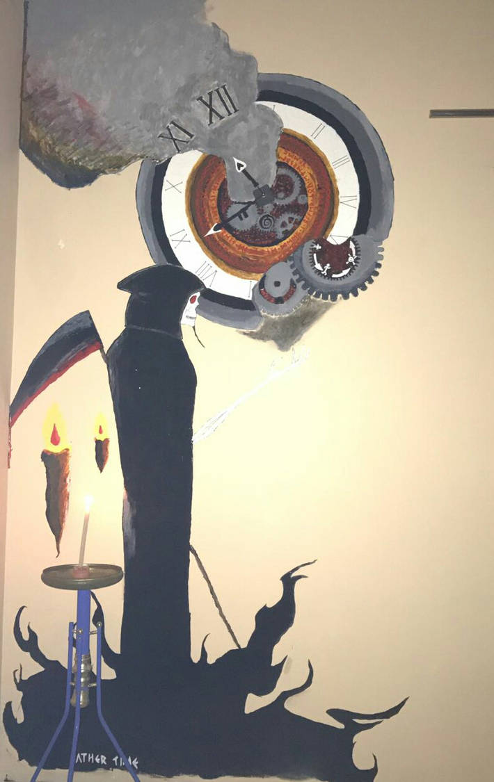 Father Time, acrylics on wall, 5x2m(?) by cluelessjinn