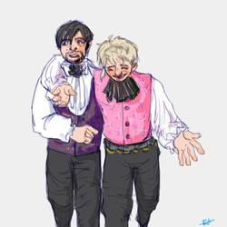 Tipsy Mozart and Panicking Salieri by SaerwenApsenniel